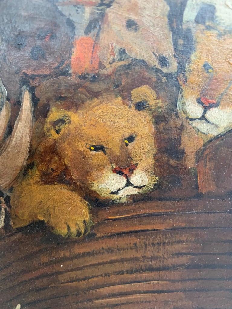 Whimsical Original Noah's Ark Painting by Charles Burdick For Sale 1