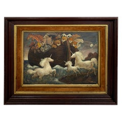 Whimsical Original Noah's Ark Painting by Charles Burdick