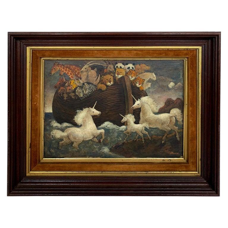 Whimsical Original Noah's Ark Painting by Charles Burdick For Sale