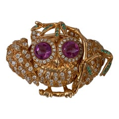 Whimsical Owl on a branch vermeil brooch