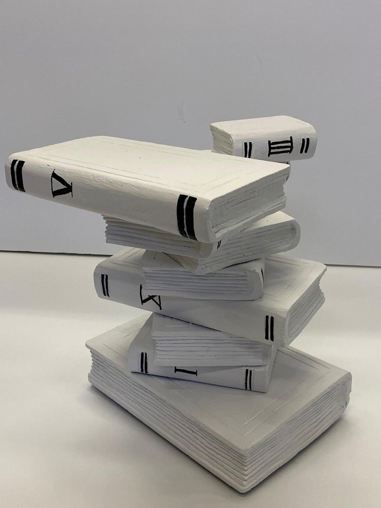 Whimsical Painted Black and White Stack of Books Side Table For Sale 1