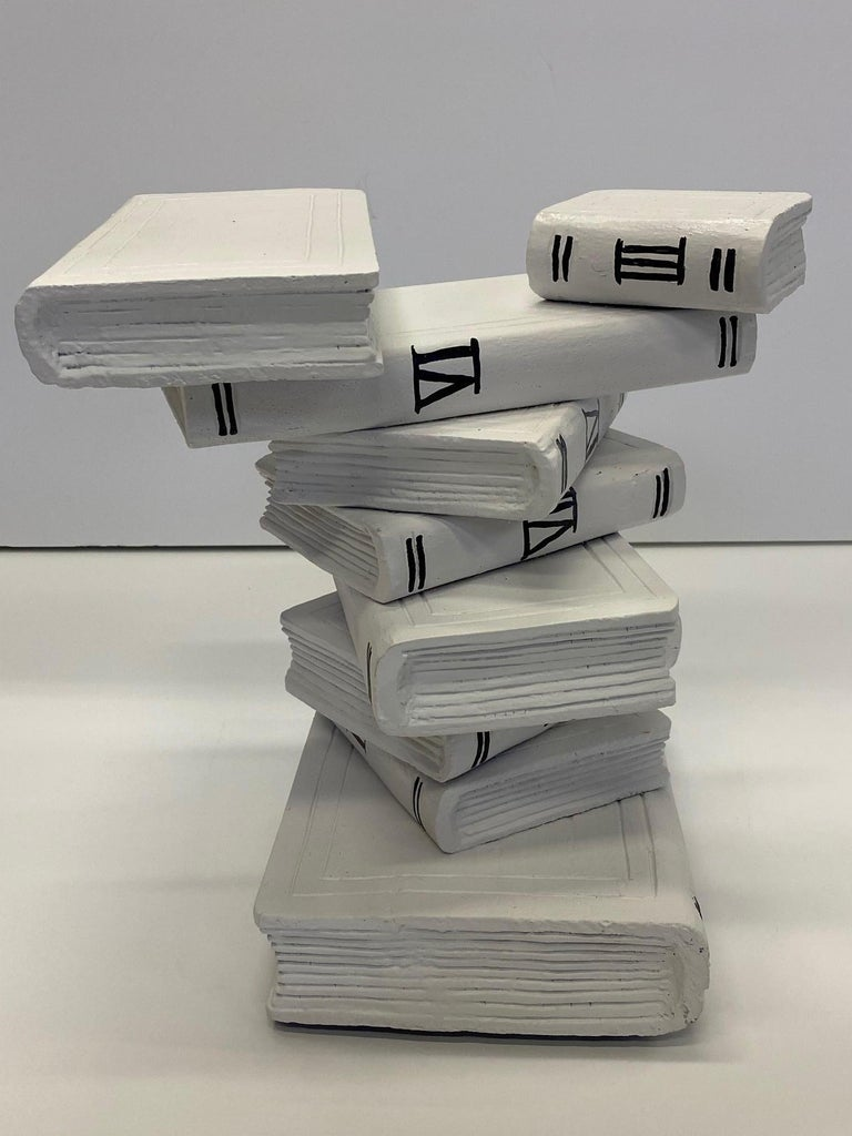 Whimsical Painted Black and White Stack of Books Side Table For Sale 2