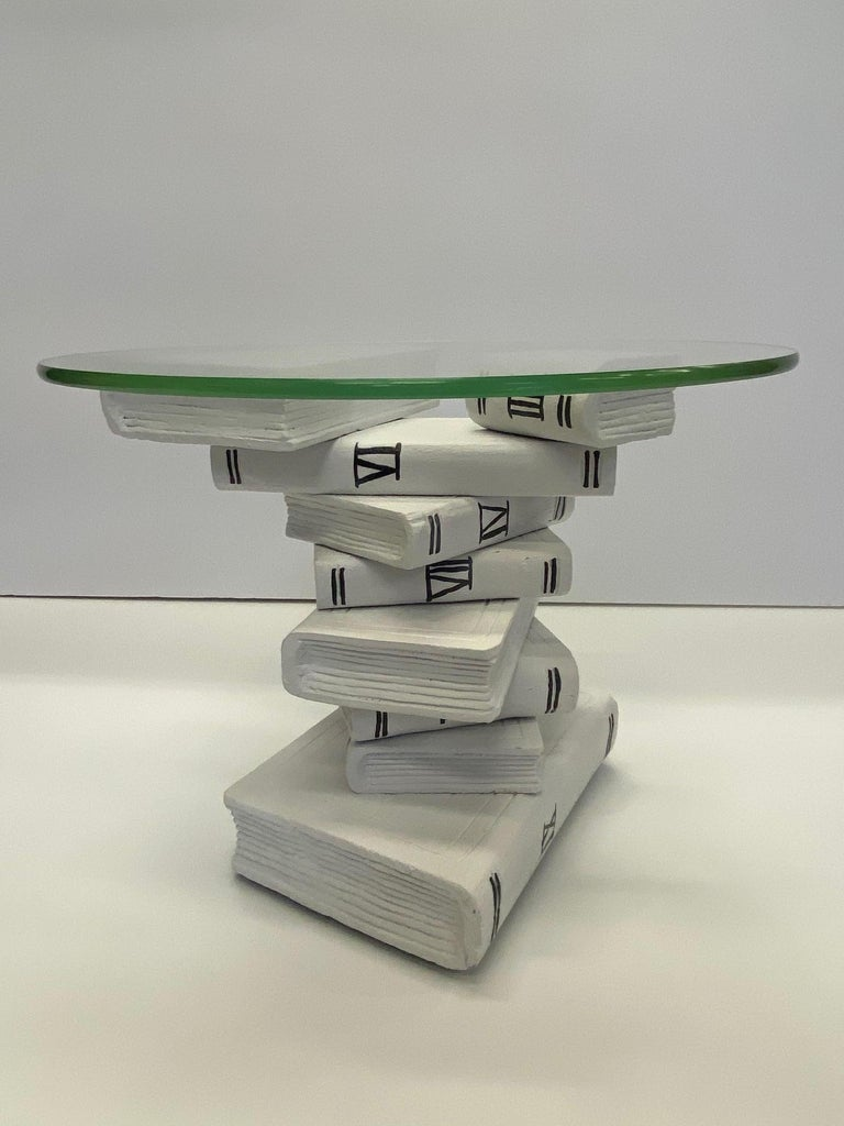 Whimsical Painted Black and White Stack of Books Side Table For Sale 3