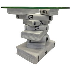 Whimsical Painted Black and White Stack of Books Side Table