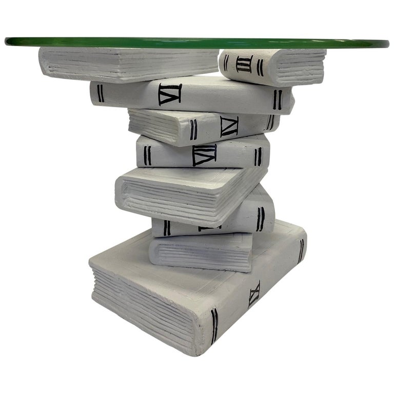 Whimsical Painted Black and White Stack of Books Side Table For Sale