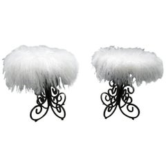 Whimsical Pair Arthur Umanoff Scrolled Wrought Iron Stool Mongolian Lamb