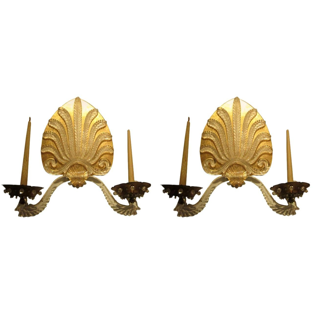 Whimsical Pair of French 1940s Sconces