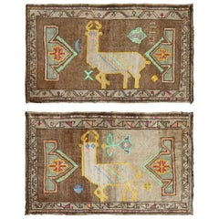 Whimsical Pair of Goat Pictorial Turkish Mats, 20th Century
