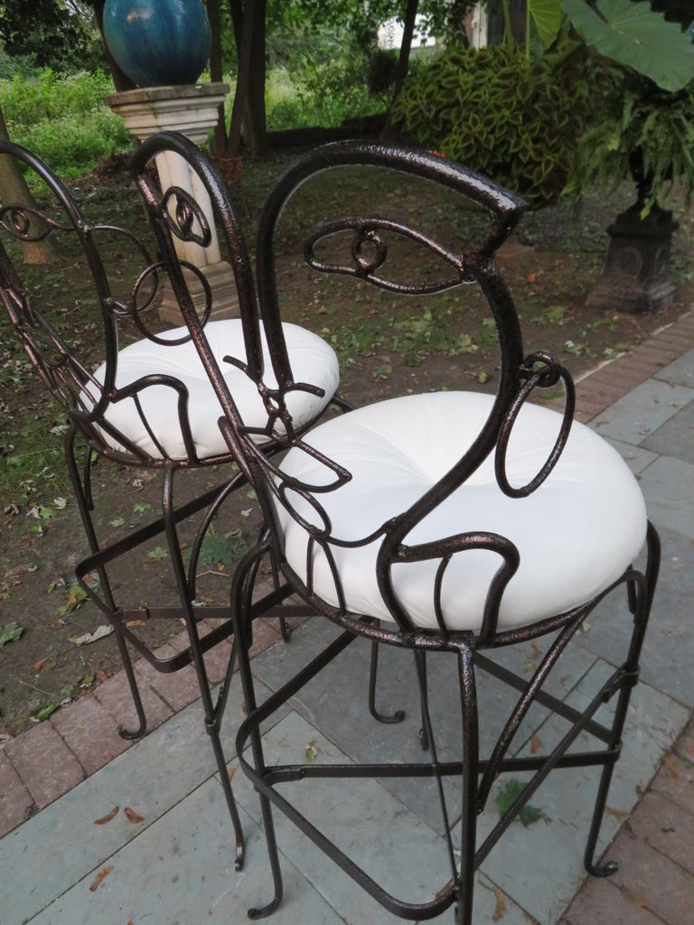 Whimsical Pair Of John Risley Style Wrought Iron Bar Stools Mid