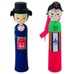Whimsical Pair of Minimalist Kokeshi Doll Sculptures, Japan