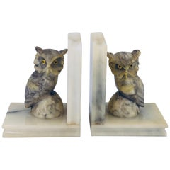 Whimsical Pair of Owl Bookends in Marble Made in Italy