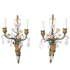 Whimsical Pair of Painted Wrought Iron, Porcelain and Rock Crystal Sconces