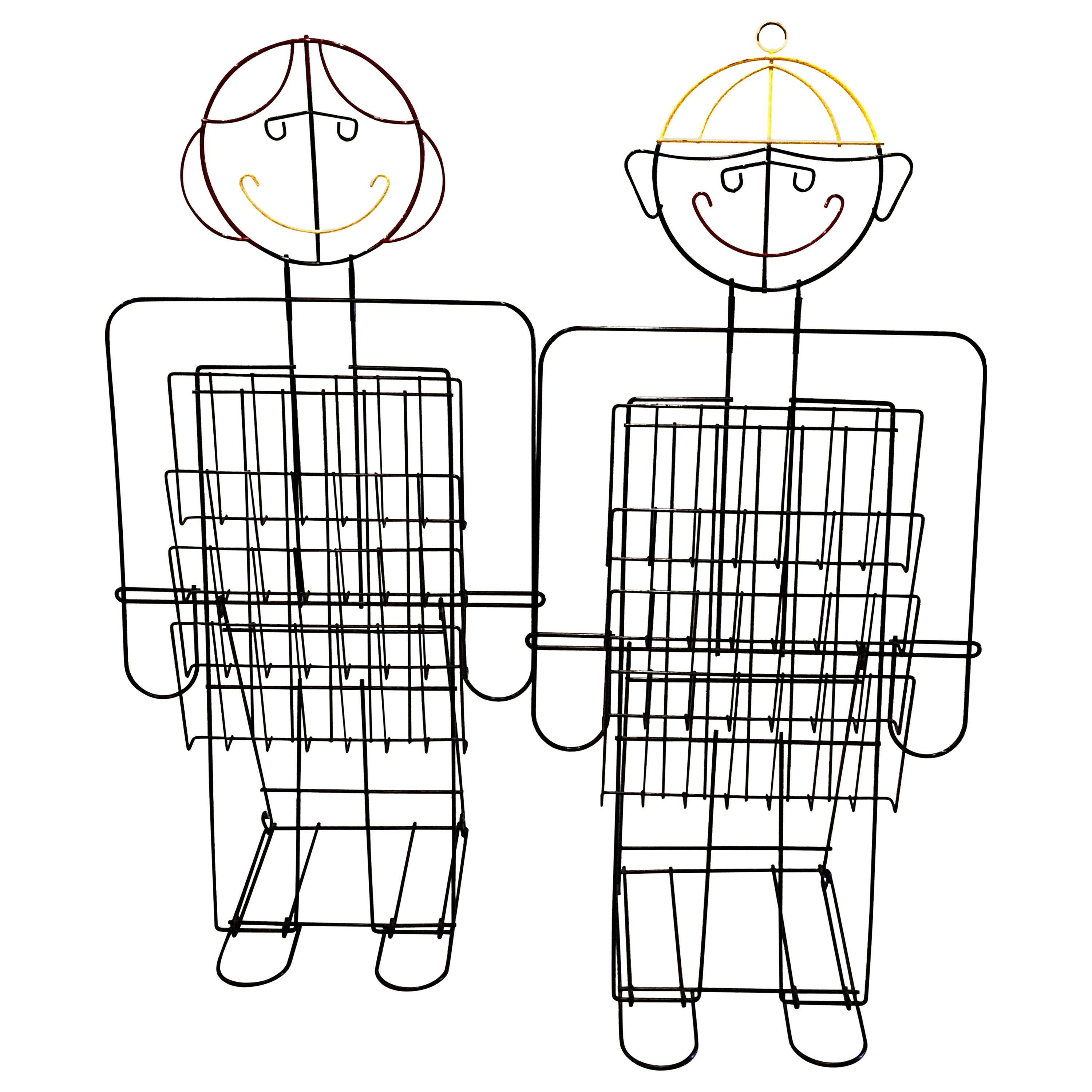 Whimsical Pair of Tall Boy and Girl Wire Metal Magazine Holders Postmodern
