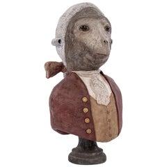 Whimsical Papier Mâché Bust of Monkey