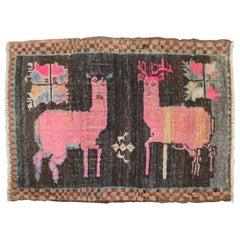 Whimsical Pink Deer Turkish 20th Century Rug