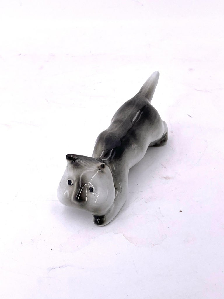 Scandinavian Modern Whimsical Porcelain Cat by Arabia of Finland For Sale