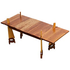Whimsical Post-Modern Craftsman Faux-Saw Coffee Table