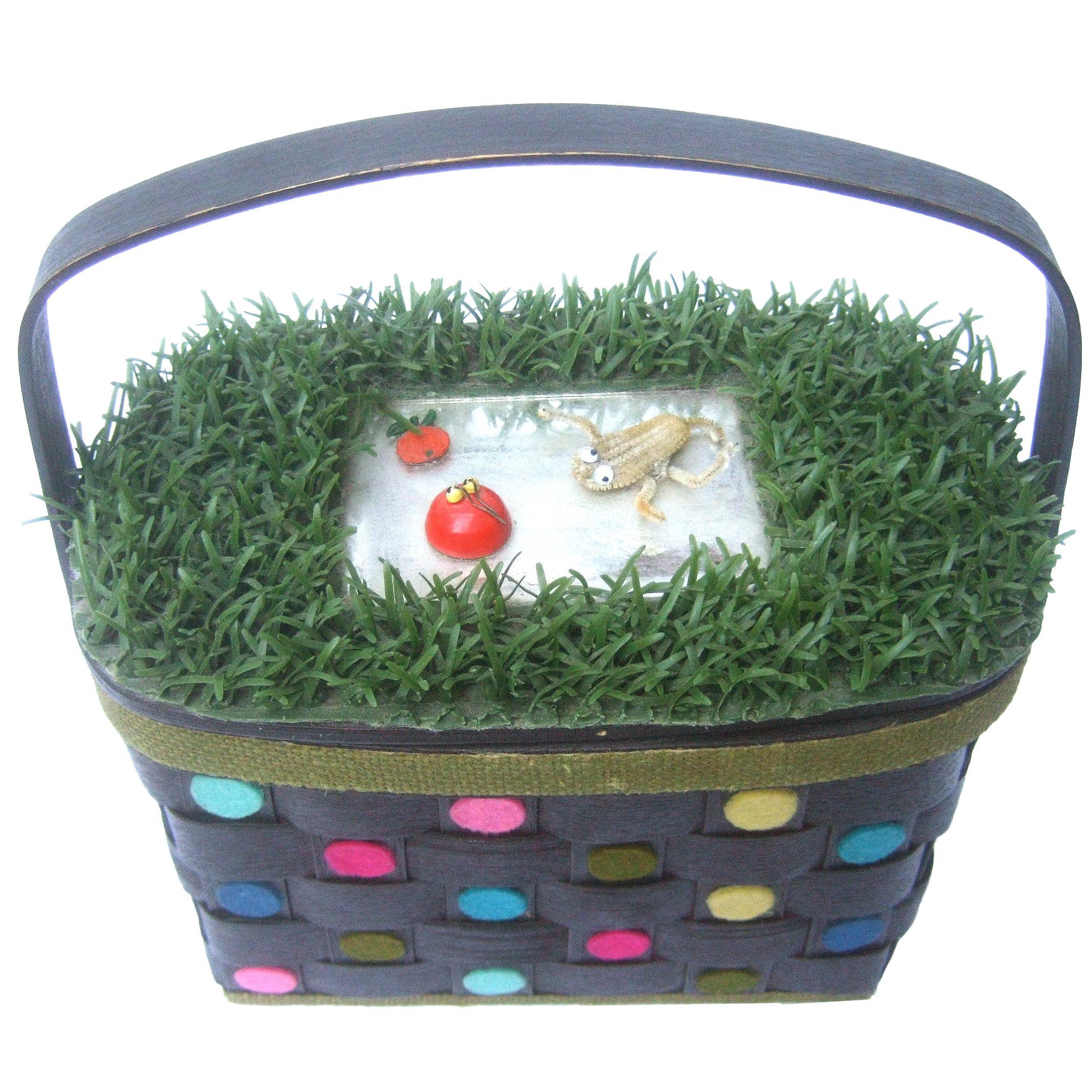 Whimsical Quirky Astro Turf  Wicker Handmade Basket Purse circa 1970