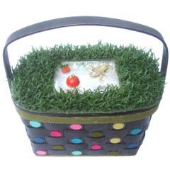 Whimsical Quirky Astro Turf  Wicker Handmade Basket Purse circa 1970