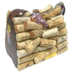 Whimsical Quirky Wine Cork Wood Box Purse Handbag c 1980s