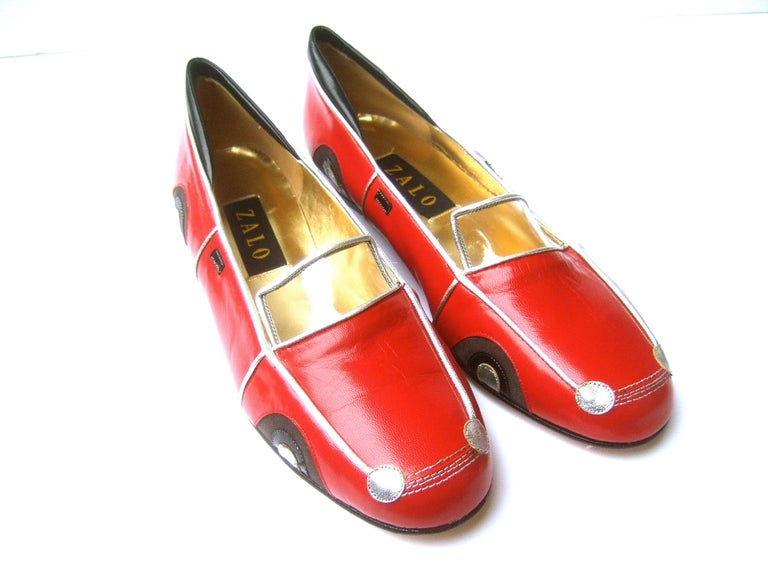 Whimsical Red Leather Sports Car Design Shoes by Zalo US Size 9 M c 1990 For Sale 6