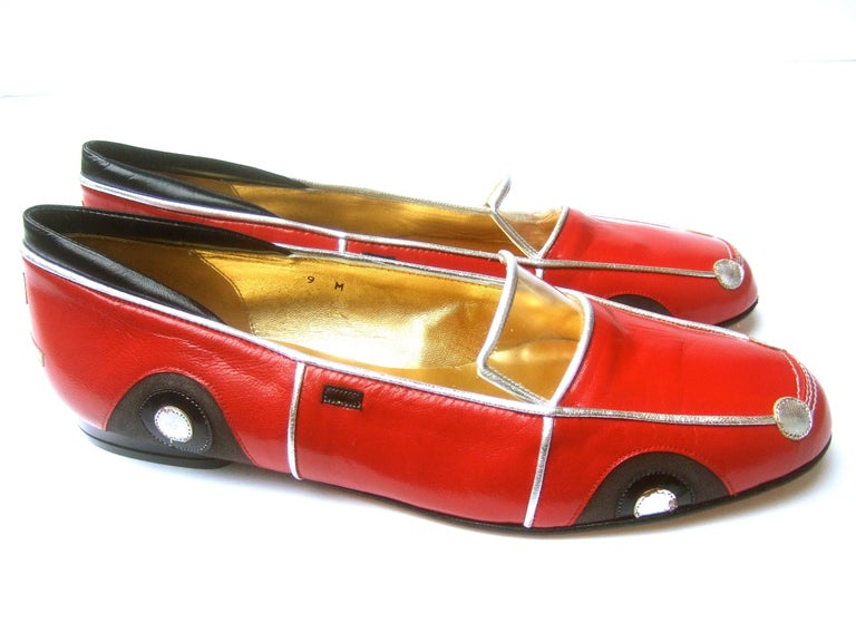 Whimsical Red Leather Sports Car Design Shoes by Zalo US Size 9 M c 1990 For Sale 7