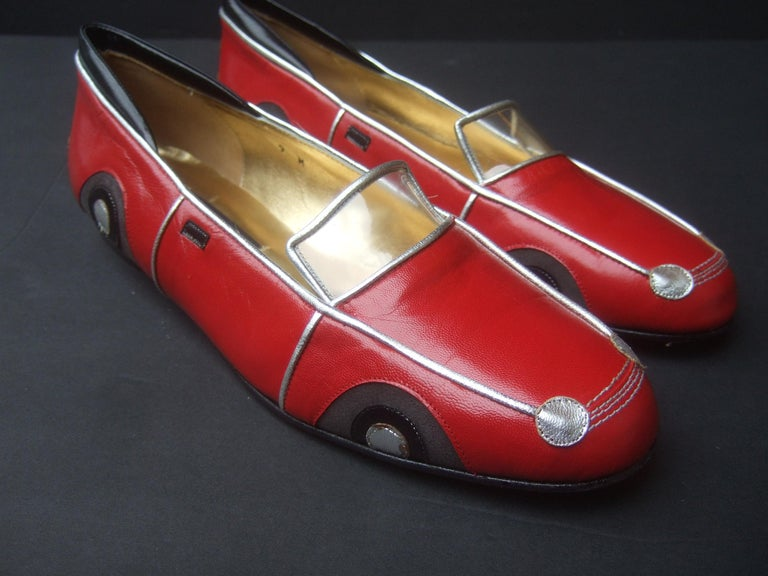 Whimsical Red Leather Sports Car Design Shoes by Zalo US Size 9 M c 1990 For Sale 9