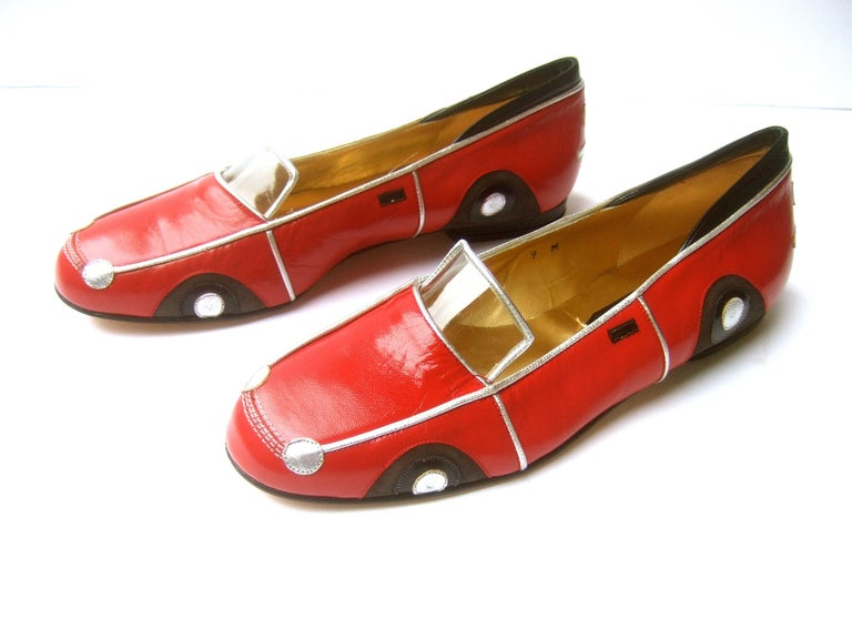 Whimsical Red Leather Sports Car Design Shoes by Zalo US Size 9 M c 1990 For Sale 10