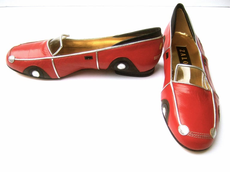 Whimsical Red Leather Sports Car Design Shoes by Zalo US Size 9 M c 1990 For Sale 11
