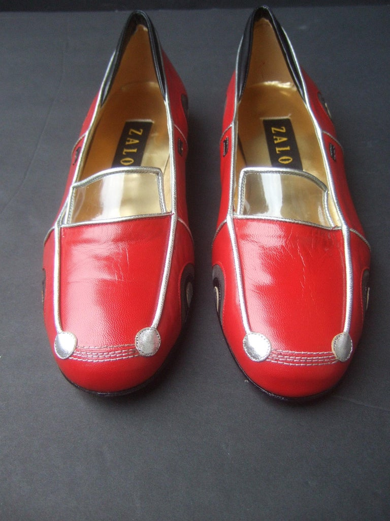 Whimsical Red Leather Sports Car Design Shoes by Zalo US Size 9 M c 1990 For Sale 12