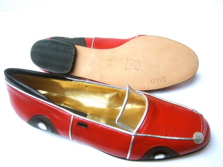 Whimsical Red Leather Sports Car Design Shoes by Zalo US Size 9 M c 1990 For Sale 14
