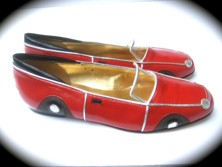 Women's Whimsical Red Leather Sports Car Design Shoes by Zalo US Size 9 M c 1990 For Sale
