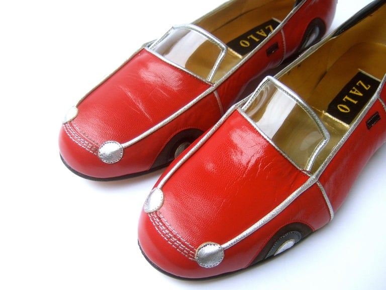 Whimsical Red Leather Sports Car Design Shoes by Zalo US Size 9 M c 1990 For Sale 1