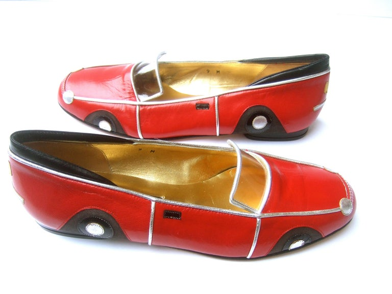 Whimsical Red Leather Sports Car Design Shoes by Zalo US Size 9 M c 1990 For Sale 2