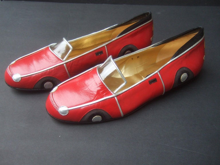 Whimsical Red Leather Sports Car Design Shoes by Zalo US Size 9 M c 1990 For Sale 3