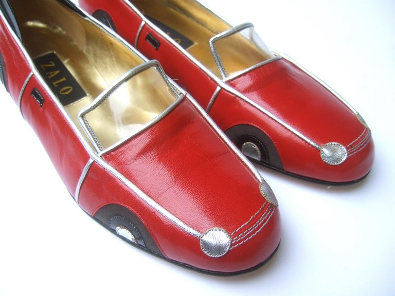 Whimsical Red Leather Sports Car Design Shoes by Zalo US Size 9 M c 1990 For Sale 4