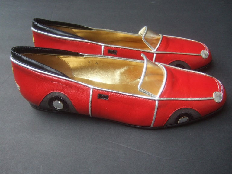 Whimsical Red Leather Sports Car Design Shoes by Zalo US Size 9 M c 1990 For Sale 5