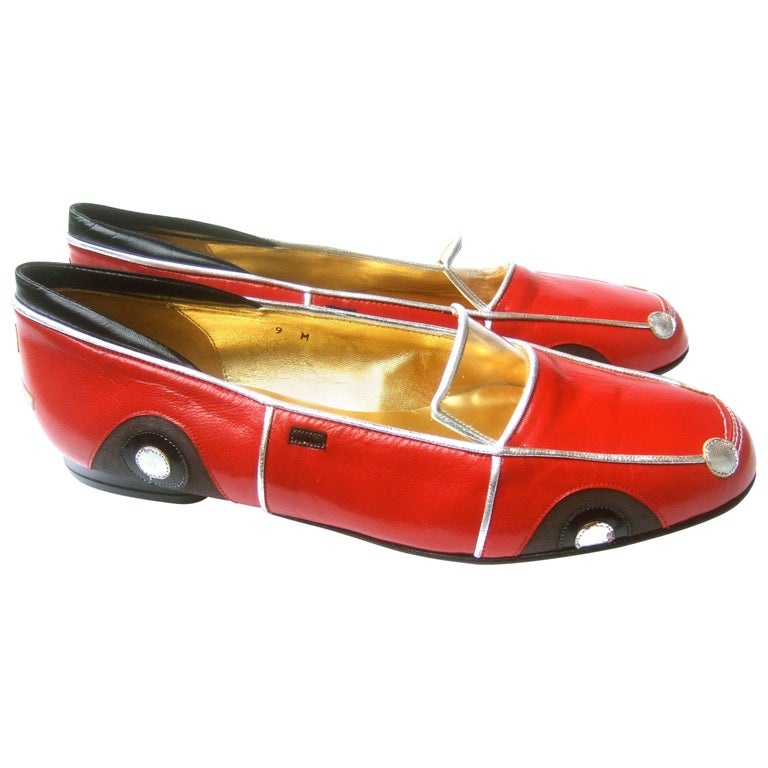 Whimsical Red Leather Sports Car Design Shoes by Zalo US Size 9 M c 1990 For Sale