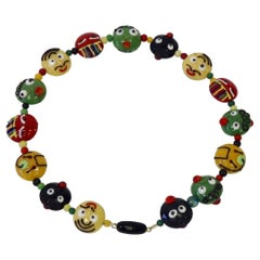 Whimsical Red, Yellow, Green, Black Murano Italian Glass Bead Necklace