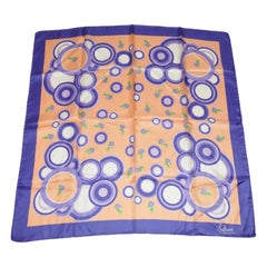 """Whimsical Rich Violet with """"Abstract Shades of Lavender Circles"""" Silk Scarf"""