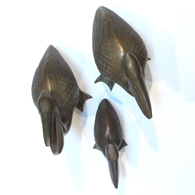 Whimsical Set of Three American Brass Pelicans, 1960s For Sale 1