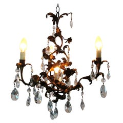 Whimsical Spiral French Tole Strass Crystal Chandelier