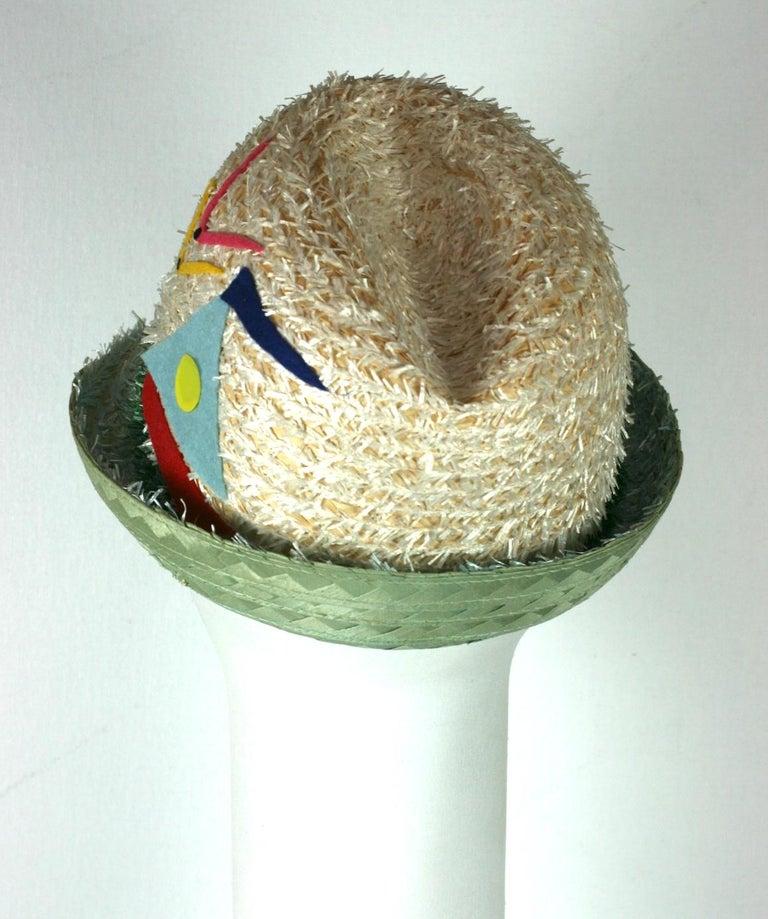 Beige Whimsical Straw Boating Motif Fedora  For Sale