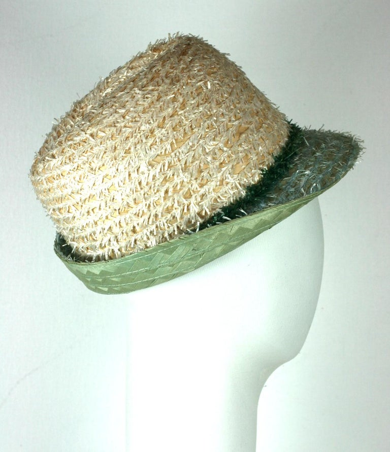 Whimsical Straw Boating Motif Fedora  In Excellent Condition For Sale In Riverdale, NY