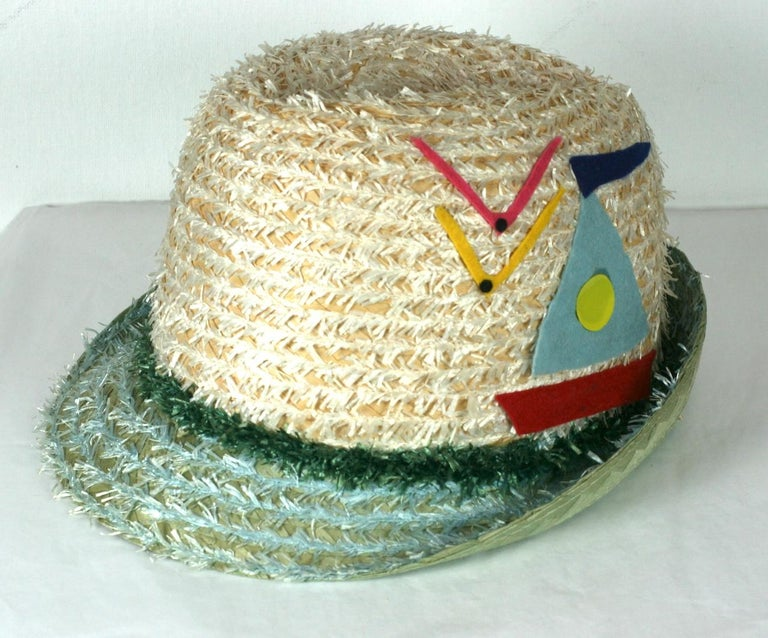 Women's or Men's Whimsical Straw Boating Motif Fedora  For Sale