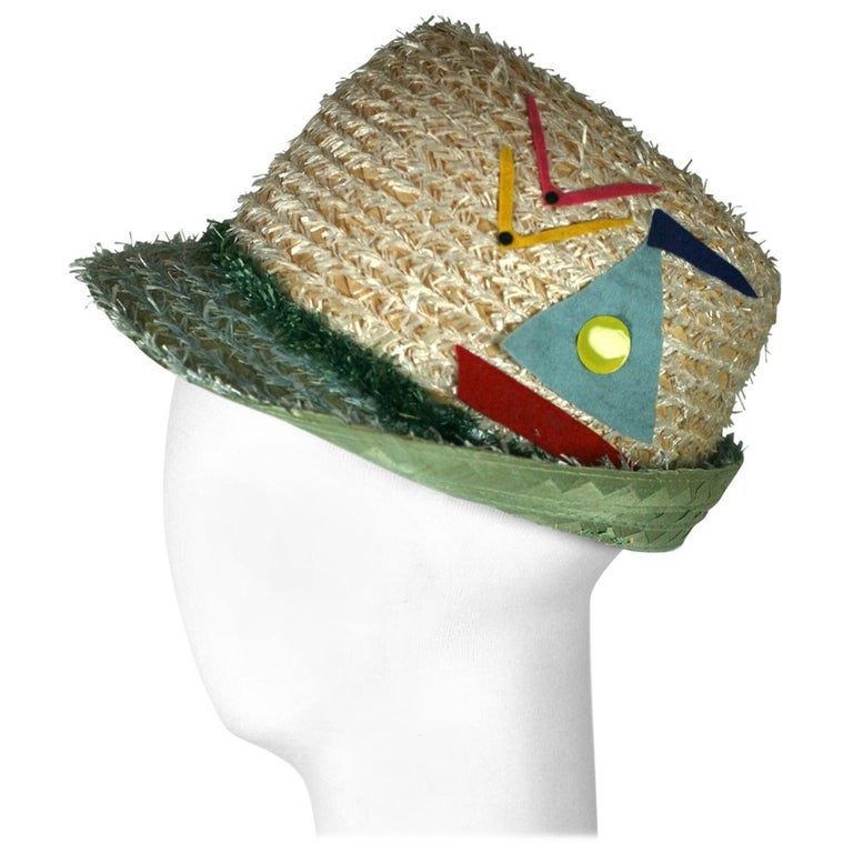 Whimsical Straw Boating Motif Fedora  For Sale