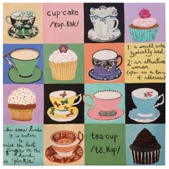 Whimsical Teacups and Cupcakes Painting on Canvas