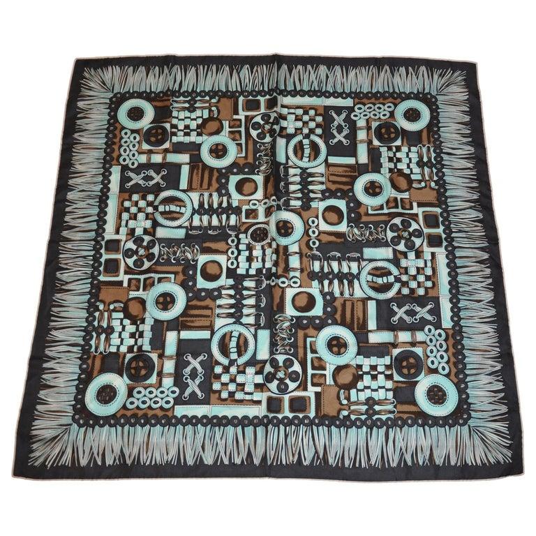 """""""Whimsical Textiles  & Fringe Workshop"""" Silk Jacquard Scarf For Sale"""