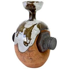 Whimsical Vintage Drip Glazed 'Bolt' Signed Art Studio Stoneware Pottery Vase