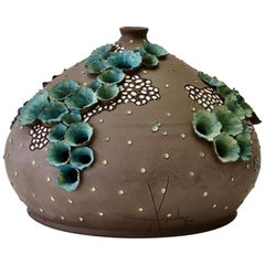 Whimsical Vintage Organic Flower Signed Art Studio Pottery Vase Germany, 1984